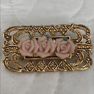 VINTAGE elegant brooch with porcelain pink roses